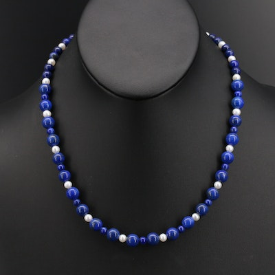 Pearl and Lapis Lazuli Bead Necklace with 10K Clasp