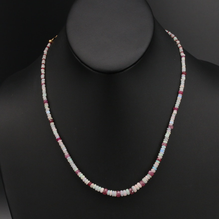 Graduated Opal and Corundum Necklace with 10K Clasp