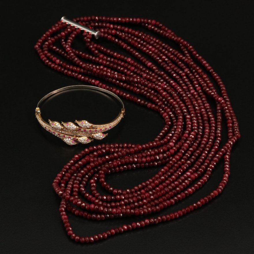 Multi-Strand Quartz Bead Necklace with Sterling Ruby and Cubic Zirconia Bracelet