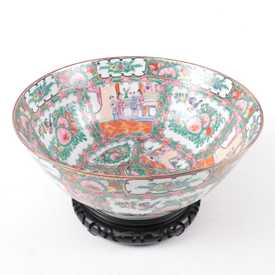 Chinese Rose Medallion Porcelain Centerpiece Bowl on  Stand