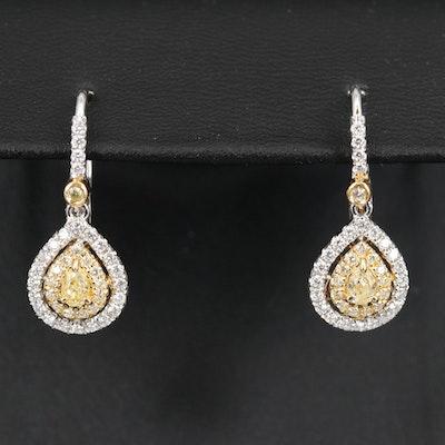 EFFY 18K Diamond Halo Drop Earrings