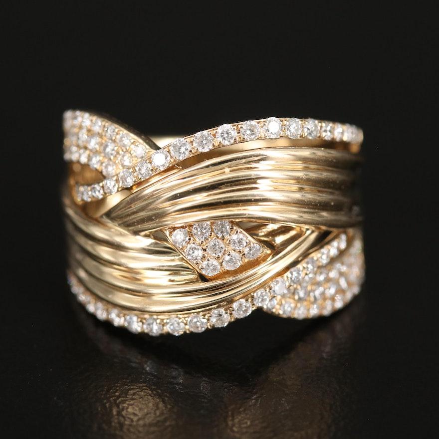EFFY 14K Diamond Fluted Crossover Ring