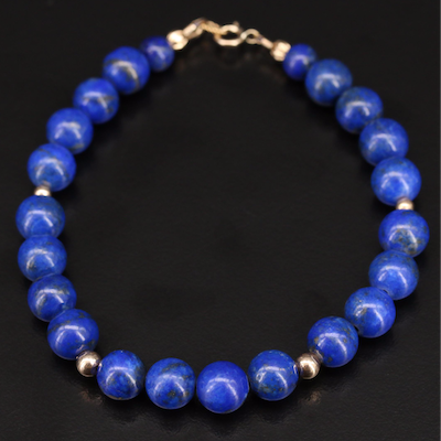 Lapis Lazuli Bead Bracelet with 10K Clasp and Accents Beads