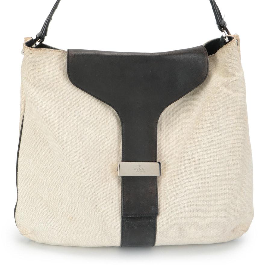Gucci Canvas and Black Leather Shoulder Bag