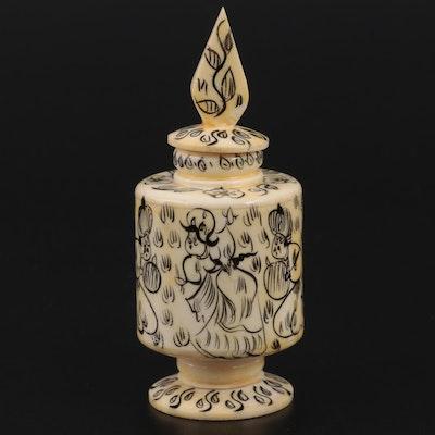 Turkish Hand-Painted Carved Bone Perfume Bottle