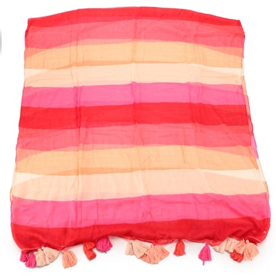 Kate Spade New York Striped Cotton Gauze Oblong Scarf Wrap with Tassel Fringe