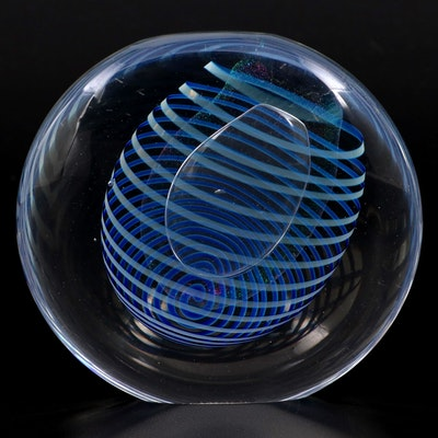 Robert Eickholt Handcrafted Dichroic and Threaded Art Glass Paperweight, 1989