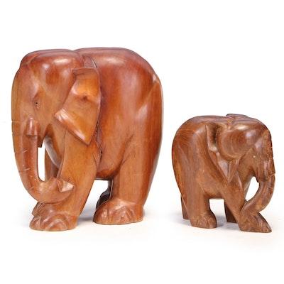 Two Carved Hardwood Elephants
