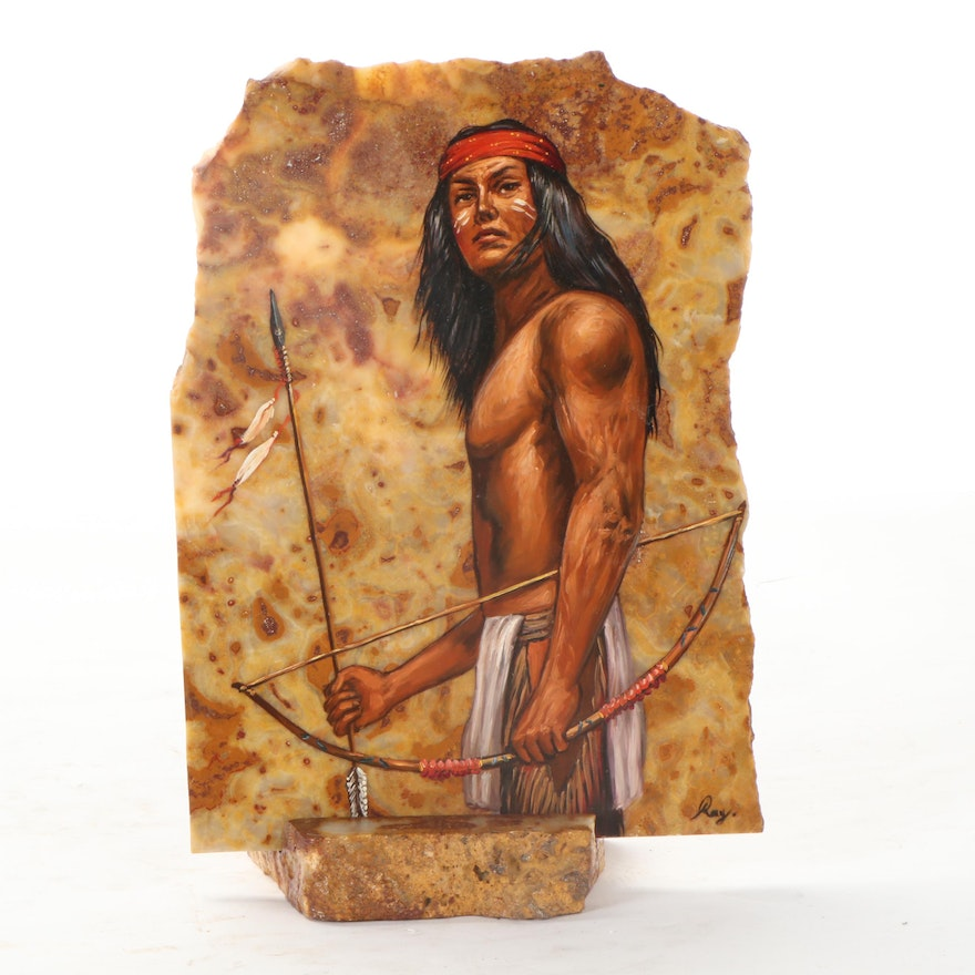 Oil Painting of Indigenous Person On Stone, Late 20th Century
