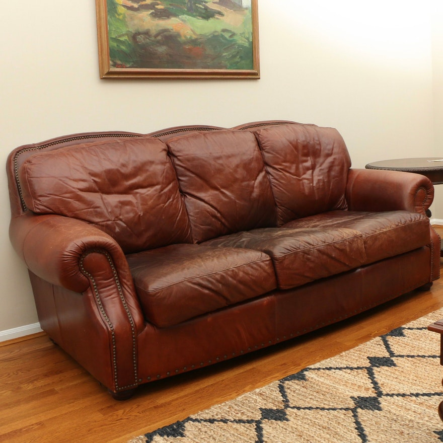 Robinson & Robinson Brass-Tacked Saddle Leather Three-Seat Sofa