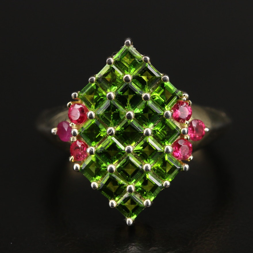 Sterling Diopside and Red Spinel Ring with Knife Edge Shank