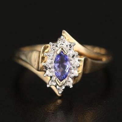 10K Tanzanite and Diamond Navette Ring