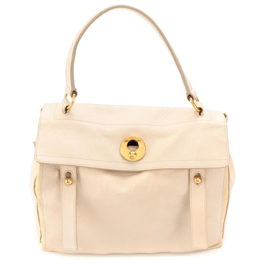 Yves Saint Laurent Rive Gauche Muse Two Medium Bag in Leather and Canvas