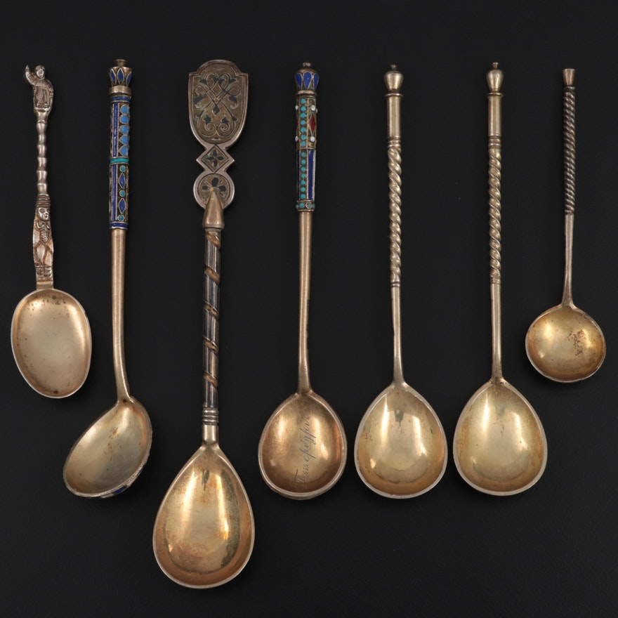 Russian Enameled Demitasse Spoons and English Sterling Silver Spoon