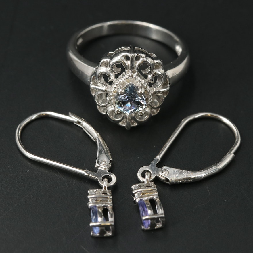 Sterling Silver Openwork Ring and Drop Earrings Featuring Tanzanite and Zircon