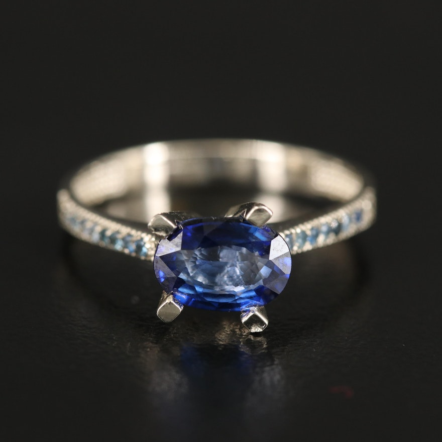 14K 1.09 CT Sapphire East-West Ring