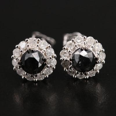 14K 1.60 CTW Diamond Halo Earrings