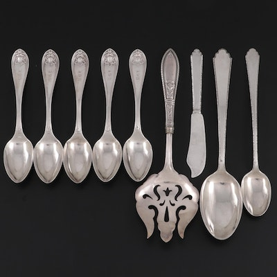 Eugene Jaccard & Co. Coin Teaspoons and Other Sterling Utensils