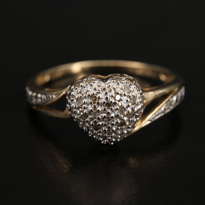 10K Pavé Diamond Heart Ring