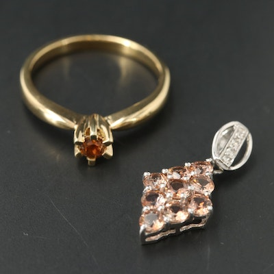 Sterling Silver Ring and Pendant Featuring Andalusite and Topaz