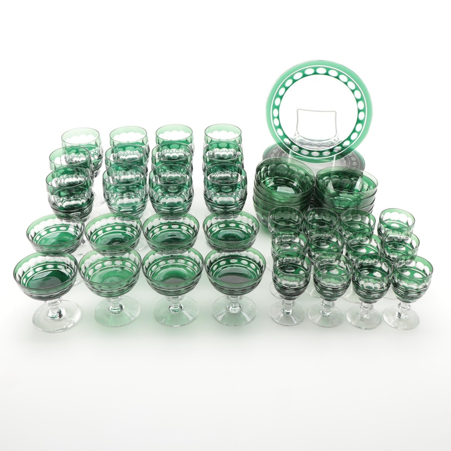 Bohemian Green Cut to Clear Glass Tableware, Mid to Late 20th-Century