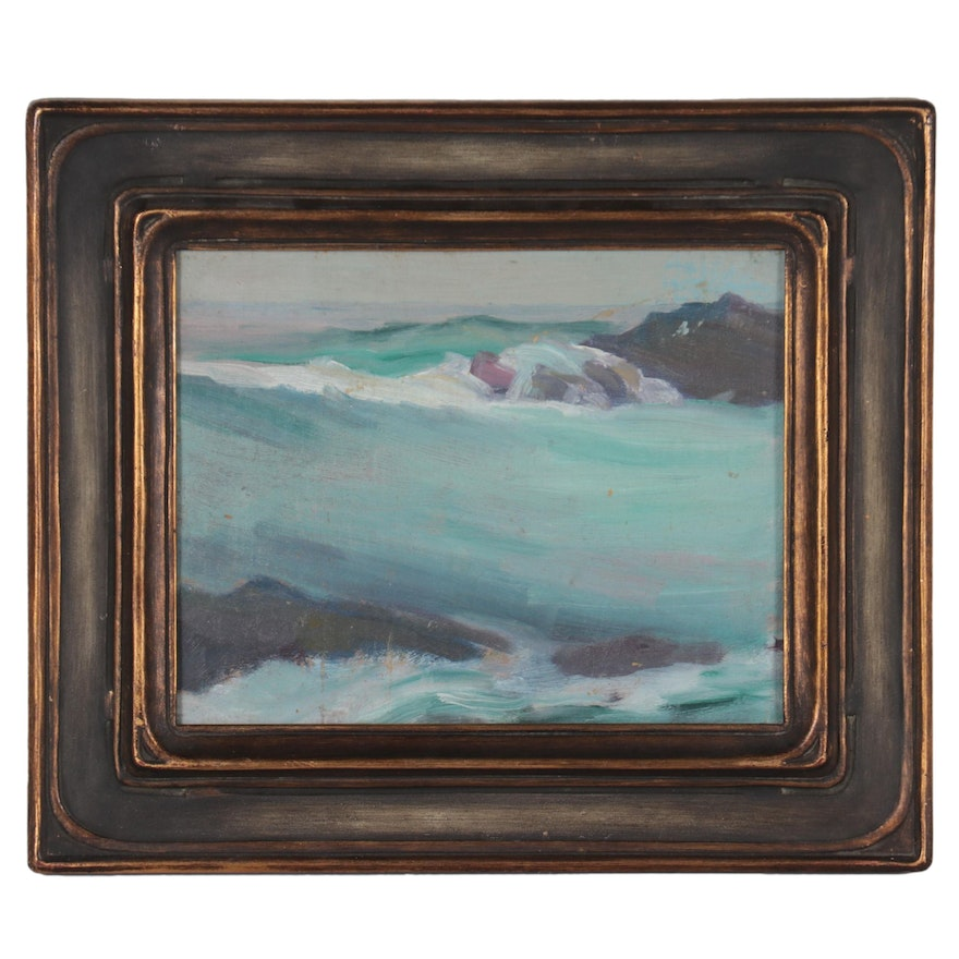 Seascape Oil Painting Attributed to Emma Mendenhall, Early 20th Century