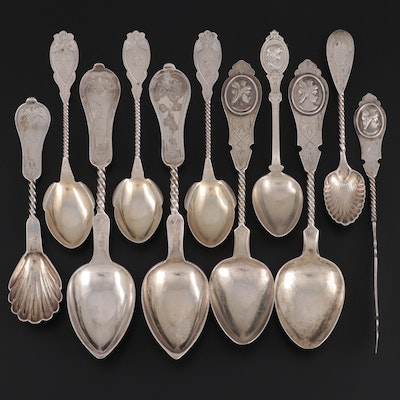 """Duhme & Co. """"Linthioum"""" and Other Sterling Silver Utensils, Mid to Late 19th C."""