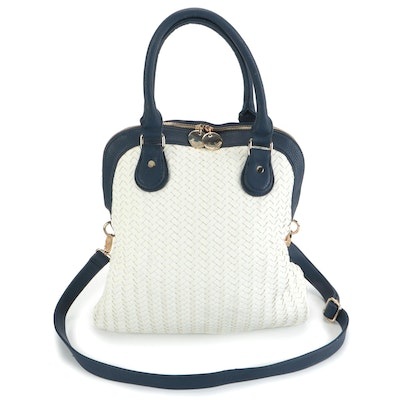 Neiman Marcus Woven and Pebble Grain Leather Fold-Over Shoulder Bag