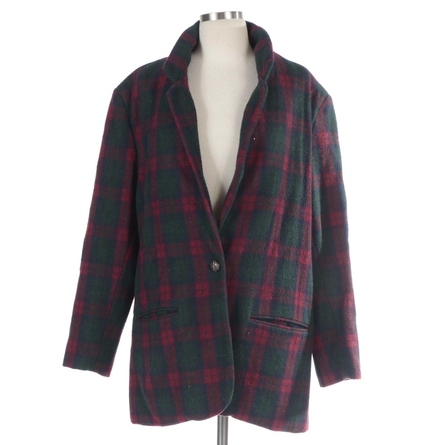 Adolfo International Single-Button Sport Coat in Red and Green Plaid Wool Blend