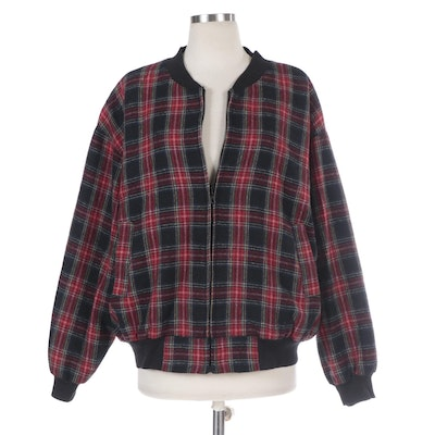 Adolfo Royalty Collection Oversize Zipper Jacket in Red and Black Plaid