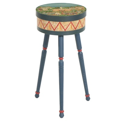 Hand-Painted Wooden Tripod Sewing Stand, Late 20th Century