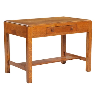Arts and Crafts Oak Single-Drawer Desk, Early 20th Century