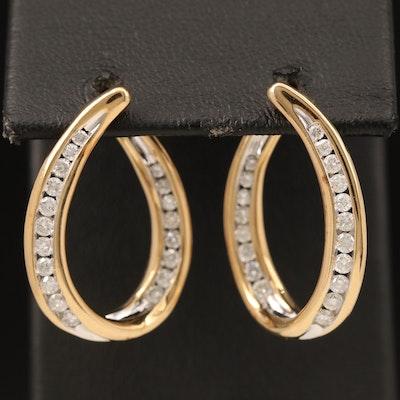 14K Diamond Twisted Hoop Earrings