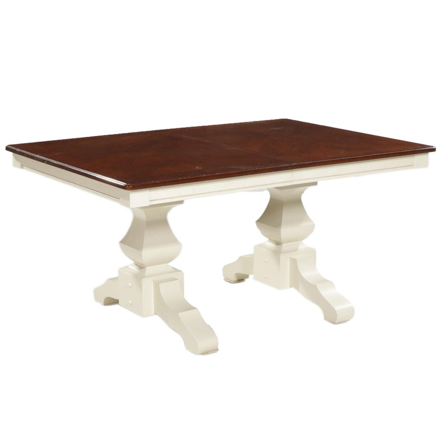 Standard Furniture Contemporary Pedestal Dining Table with Inlaid Top