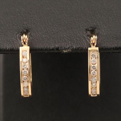 14K Diamond Small Hoop Earrings