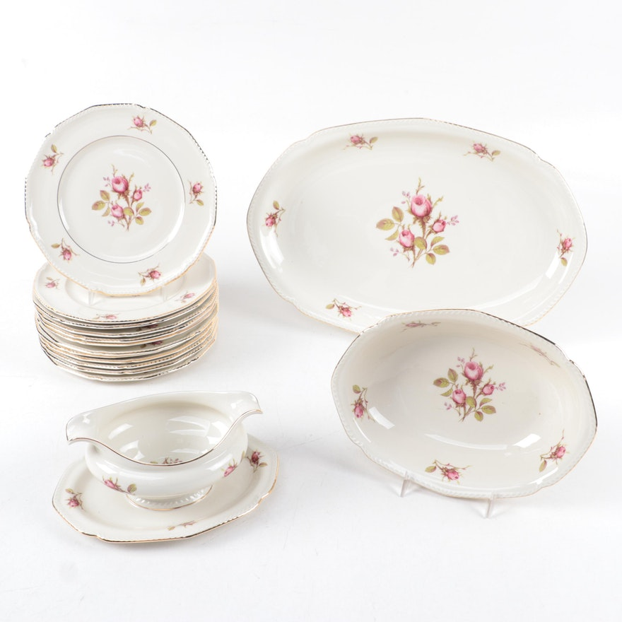 "Royal Tettau ""Trellis Rose"" Ceramic Salad Plates and Serveware"
