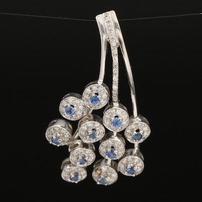 18K and 14K Sapphire and Diamond Pendant