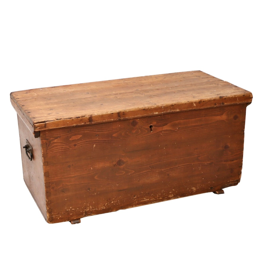 Primitive Pine Tack Trunk, Early 20th Century