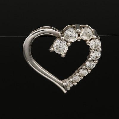10K Cubic Zirconia Heart Slide Pendant