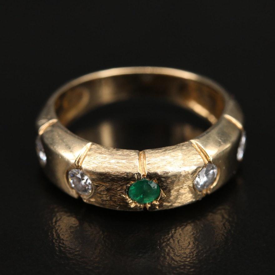 14K Gypsy Set Emerald and Diamond Ring