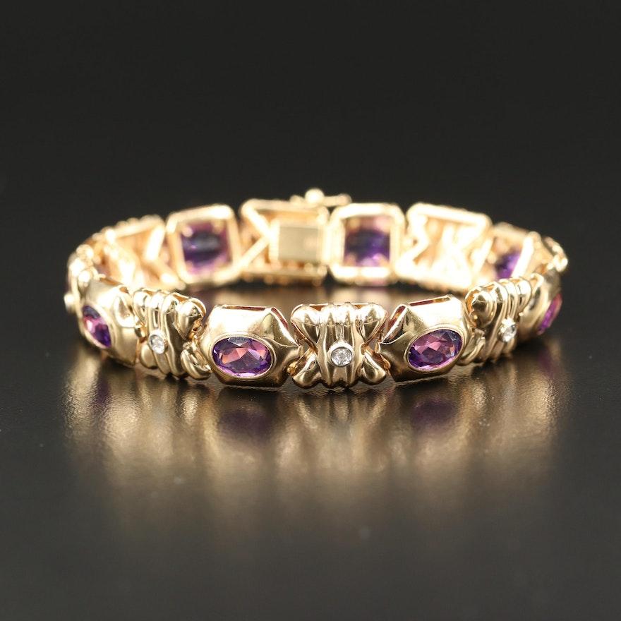 14K Amethyst and Diamond Bracelet