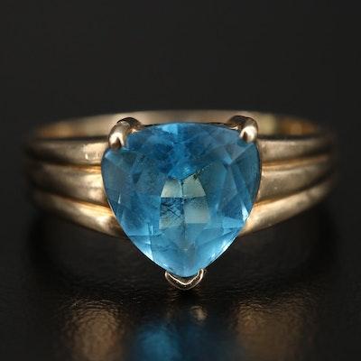 10K Swiss Blue Topaz Heart Ring