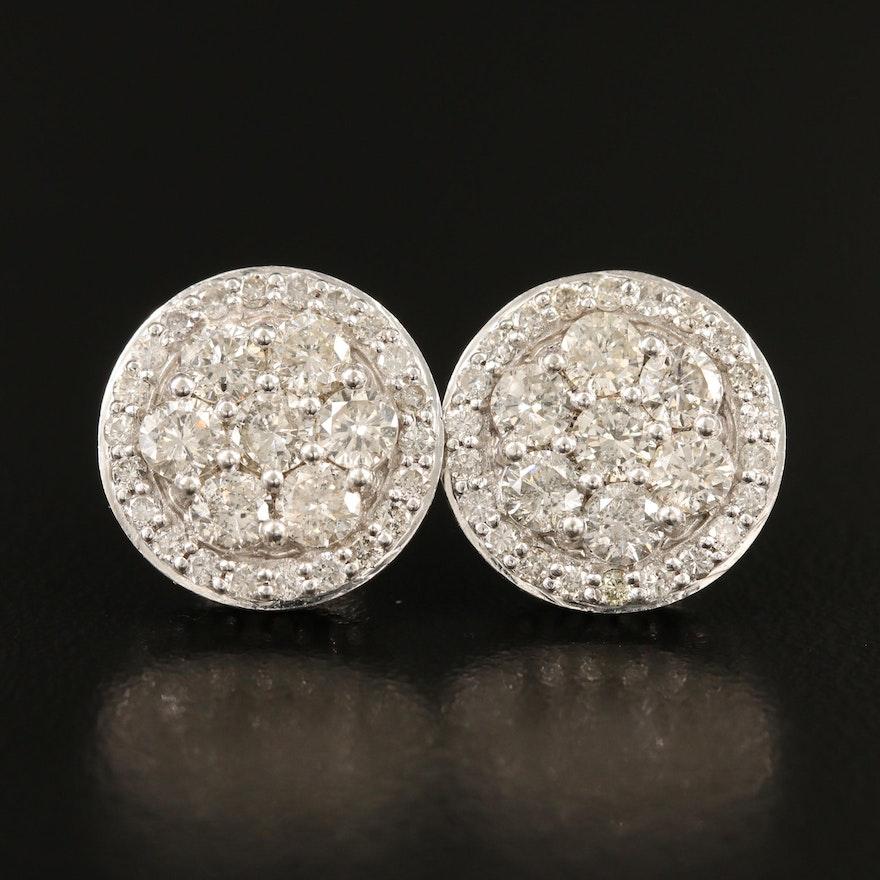 14K 1.90 CTW Pavé Diamond Stud Earrings