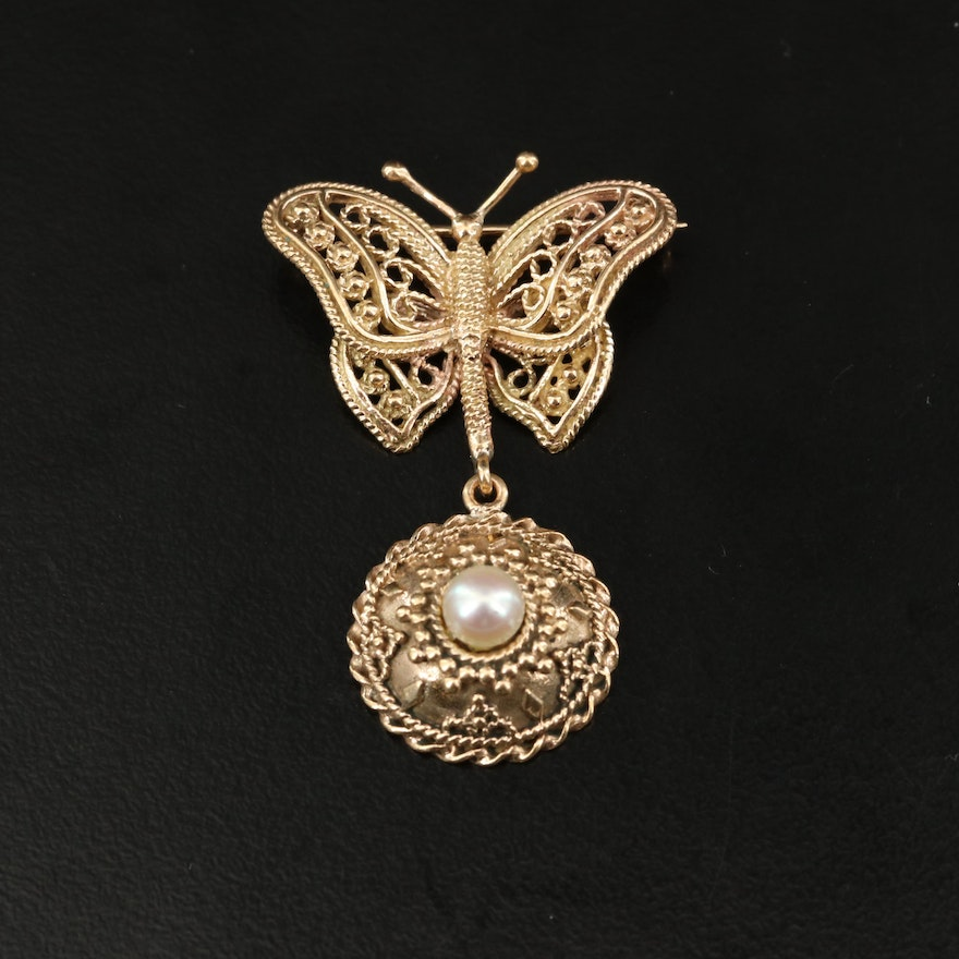 Vintage 14K Pearl Filigree Butterfly Brooch with Braided Detail