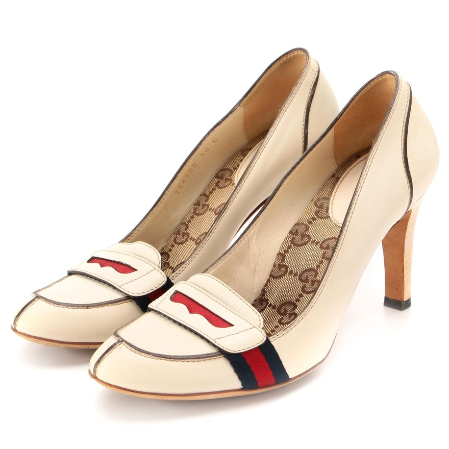 Gucci Lifford Loafer Pumps in Off-White Leather with Web Stripes