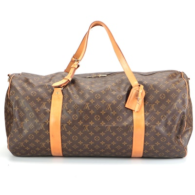 Louis Vuitton Sac Polochon Duffel Bag in Monogram Canvas and Leather
