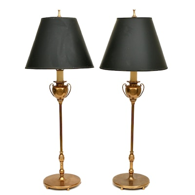 Pair of Brass Neoclassical Console Table Lamps