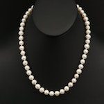 Single Strand Pearl Necklace with 18K Clasp