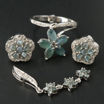 Sterling Flower Jewelry Including Color Changing Alexandrite and Chrysoberyl