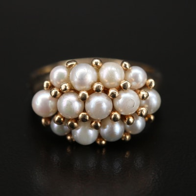 14K Pearl Cluster Ring